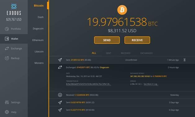 Exodus Wallet UI