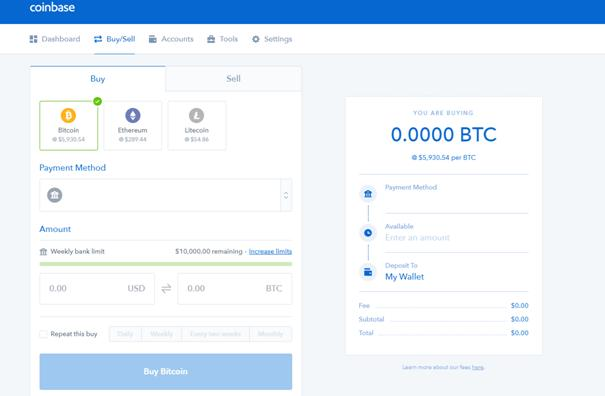Coinbase user interface