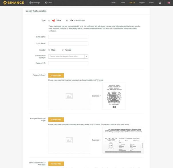 Binance account setup