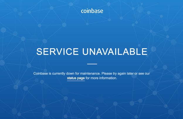 Coinbase downtime message