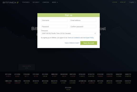 Bitfinex account