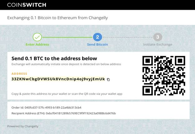 BTC address of the exchange