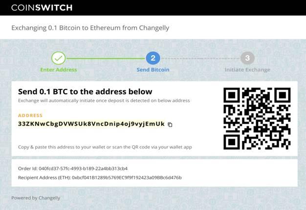 BTC address of the exchange