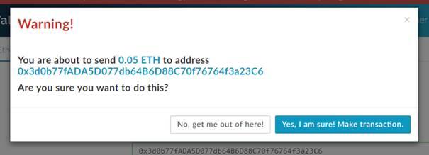 Send transaction popup