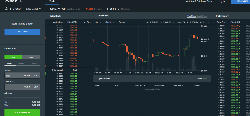 coinbase pro exchange user interface