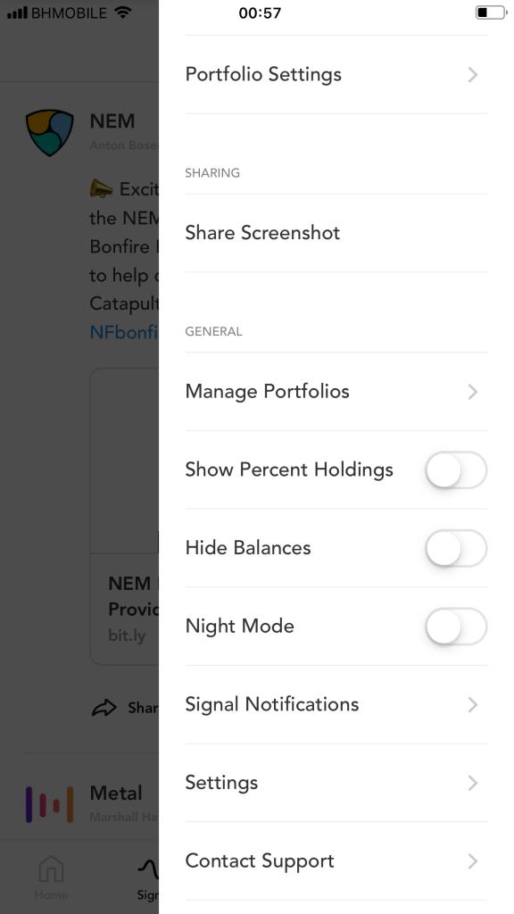 blockfolio settings