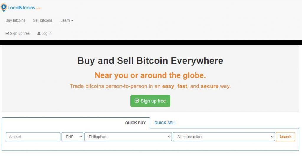 LocalBitcoins Website Homepage