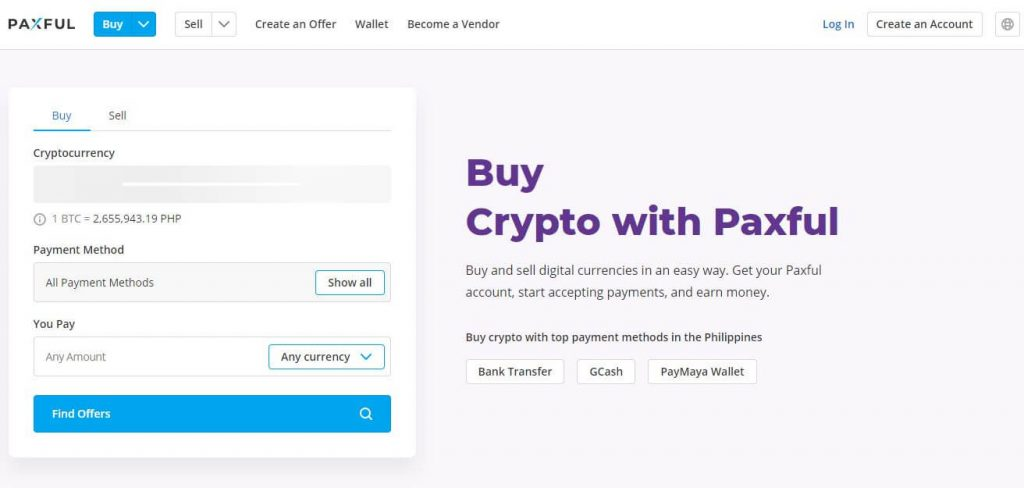 Paxful Website Homepage