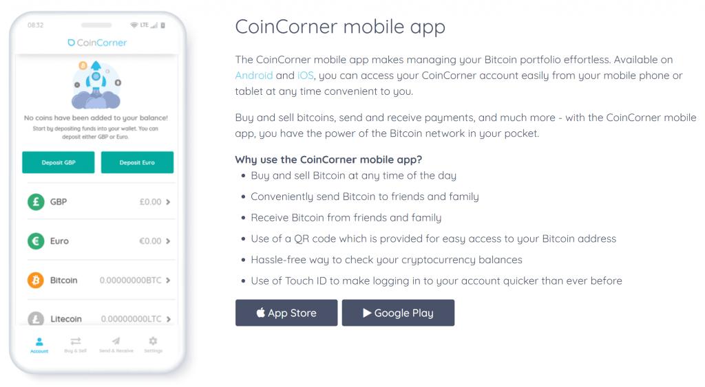 Coincorner mobile app