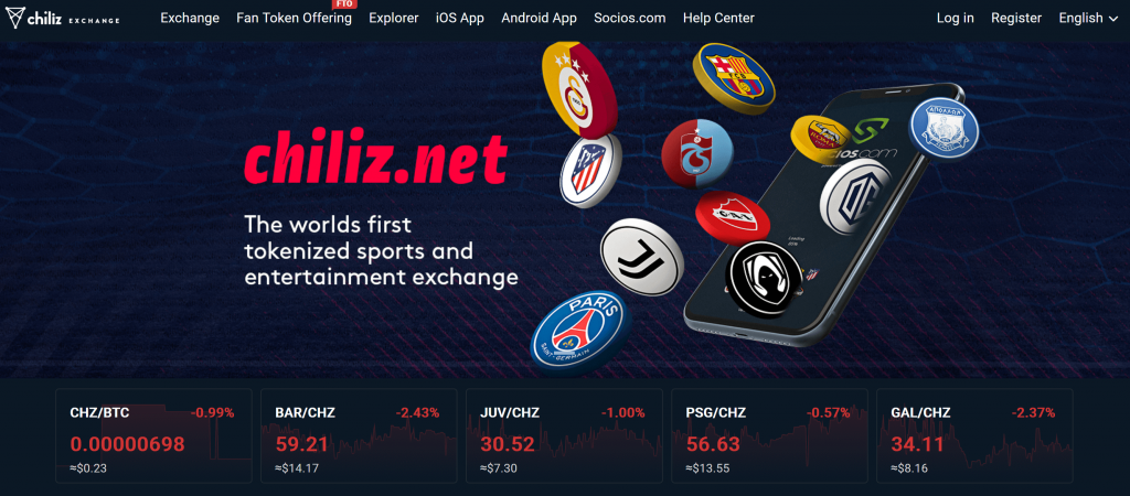 Chiliz Exchange homepage