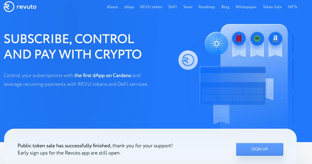 Revuto crypto homepage