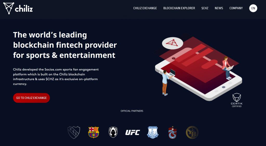 chiliz website homepage