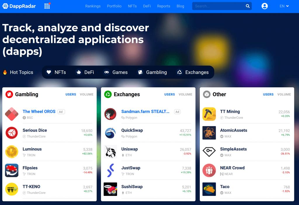 DappRadar homepage