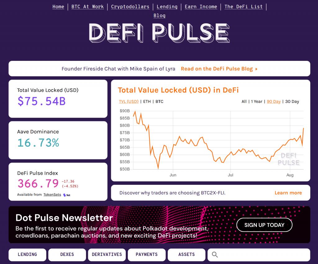 DefiPlus homepage