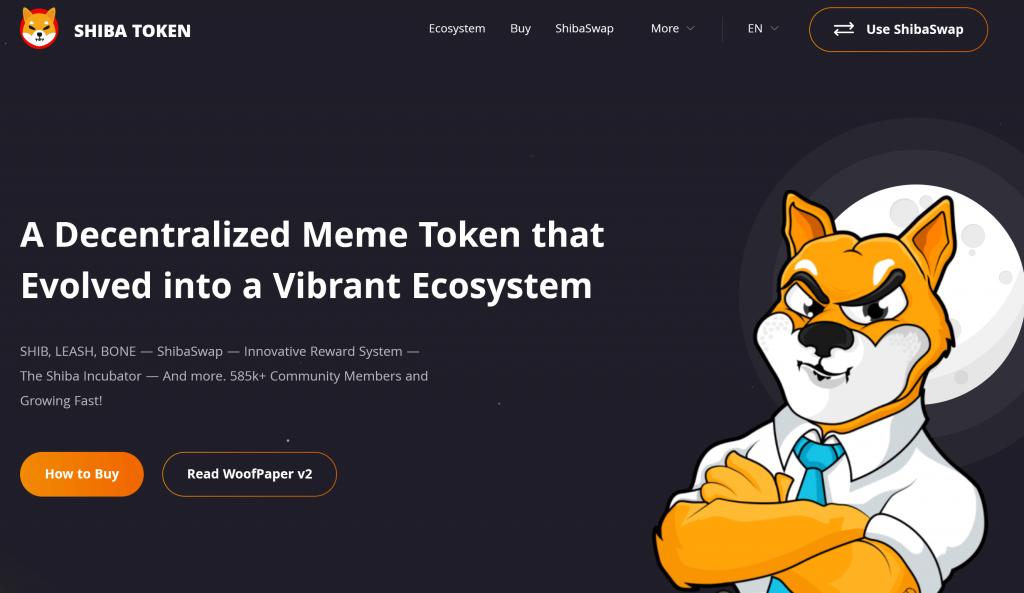 Shiba token homepage